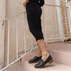 6d8dcc3624a Switch up your  loafer look with Tag s funky stacked leather footbed   mikiash Heeled Loafers