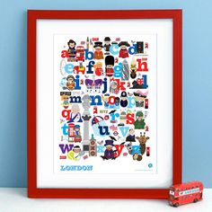 This bright and colourful alphabet of london print will brighten up any nursery or bedroom wall. Packed full of beautiful illustrations of landmarks and characters of London - kids will just love looking at it again and again. Can be personalised with name and colour of your choice. Great as a gift for a new baby, christening present or a childs birthday. Some of the characters are available on matching birthday cards in the 'products' section. Each alphabet is printed o... $59.54