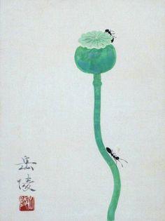Nakamura Gakuryou 中村岳陵 (1890-1969), Ants on a Poppy.