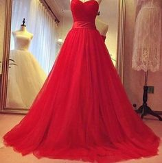 Formal Dresses, New New Arrival Prom Dress,Red A-line sweetheart tulle long prom dress,evening dress,formal gown,Wedding Guest Prom Gowns, Formal Occasion Dresses,Formal Dress