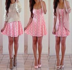 3 different ways to wear a pink daisy dress. which one do you like most?