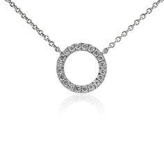 Mini Open Circle Diamond Necklace in 14k White Gold