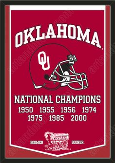 This University of Oklahoma dynasty banner framed to 26 x 38 inches.  $199.99 @ ArtandMore.com