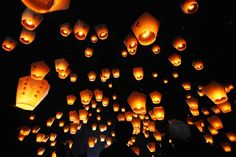 Similar to hot air balloons, sky lanterns have a little flame inside that causes them to propel upwards. In many parts of the world where the lunar calendar is observed, sky lanterns are released during the first full moon of the Lunar New Year, a day called Lantern Festival. They are also flown during the Mid-Autumn Festival, which occurs on the 15th day of the eighth month of the lunar calendar when the moon is at its fullest.