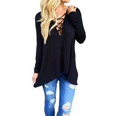 Long Sleeve, Cross Lace-up Deep V-Neck T-Shirt    https://zenyogahub.com/collections/casual-tops/products/long-sleeve-cross-lace-up-deep-v-neck-t-shirt