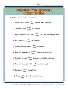 Subject Verb Agreement Worksheet Practice Activity - Subject Varieties. Here's a more challenging worksheet on subject and verb agreement. The activity includes a few tricky pronouns.