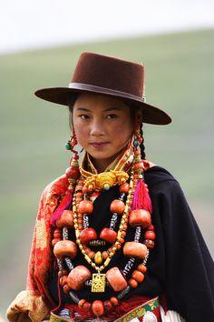 Khampa Child in Finery at Litang Horse Festival, Tibet - 2007