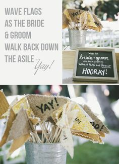 Wave Flags At Weddings ~ Yay! {Alternative To Confetti at your wedding ceremony} Wedding Reception Favors, Wedding Ceremony Decorations, Flower Decorations, Ibiza Wedding, Our Wedding, Wedding Stuff, Diy Crafts To Do, Wedding Confetti, Anniversary Parties