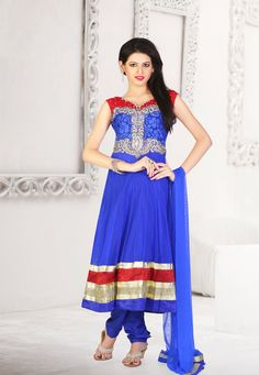 Royal Blue embroidered party anarkali kameez intricate with zari thread, stone work, sequins work, neck work, brasso work, floral work