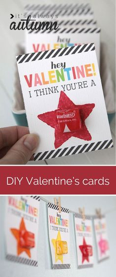 These are cute! Free DIY printable starburst Valentine's day cards your kids can help you make. Easy and cheap!