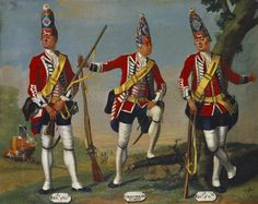 David Morier (1705?-70) Grenadiers, 1st and 3rd Regiments of Foot Guards and Coldstream Guards, 1751 c. 1751-60 Oil on canvas | 40.7 x 51.0 cm (support, canvas/panel/str external) | RCIN 405597