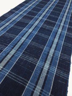 "vintage Japanese indigo fabric ""BORO"" ""SHIMA"" ""ZANSHI""  stripe design  Free shipping!  No.17011161"