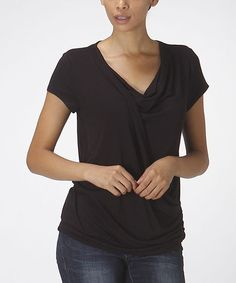 This Black Twist Drape Top by Bellino is perfect! #zulilyfinds