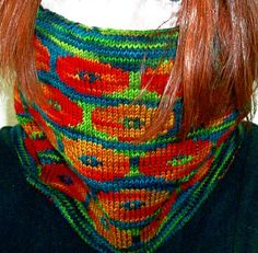 Persian Poppies, double knit cowl