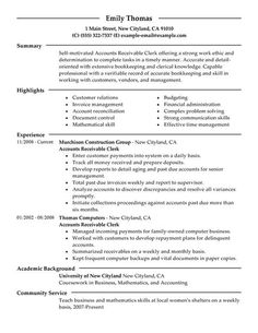 accounts receivable clerk resume sample - Cover Letter Accounts Payable
