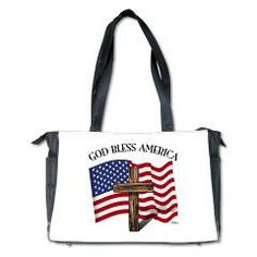God Bless American With US Flag and Rugged Cross Diaper Bag    •   This design is available on t-shirts, hats, mugs, buttons, key chains and much more   •   Please check out our others designs at: www.cafepress.com/TsForJesus
