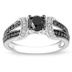 Miadora Sterling Silver 1ct TDW Black and White Diamond Ring | eBay