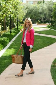 My notes: Swap out button down for v-neck long-sleeve T-shirt. Nice outfit for casual Friday. Blazer keeps it from being overly casual. Statement necklace will help if you have to take the jacket off.  Their notes: Great base outfit, swap jacket/sweater colors and jewelry to change it up!