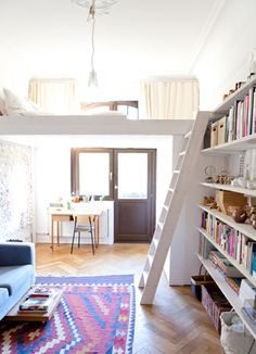 dream home design Tiny Apartments, Tiny Spaces, Studio Apartments, Open Spaces, Loft Spaces, Small Space Living, Living Spaces, Living Rooms, Compact Living