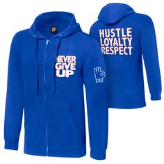 """Up for sale is the WWE John Cena """"Respect. Earn It"""" Lightweight Hoodie Sweatshirt in size I'd say that it feels just like you are wearing a sweatshirt. Wwe T Shirts, Wrestling Shirts, Wwe Superstar John Cena, Graphic Sweatshirt, Hoodies, How To Wear, Blue Fashion, Jackets, Shopping"""