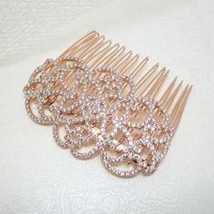 Rose Gold Hair comb Bridal Hair comb Rose Gold by treasures570