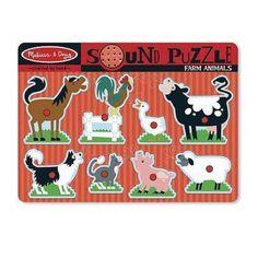 Melissa & Doug Sound Farm Animals Puzzle  9 Pieces #0726  #726 -New