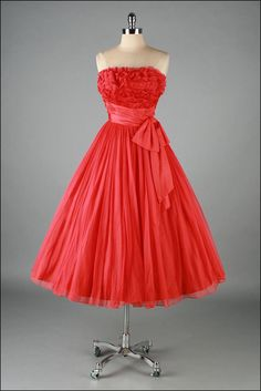 Vintage 1950s Red Chiffon, Tiered Lace Dress