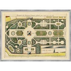 18th Century gardens | 438.00 French Garden Plan Wall Art No.2