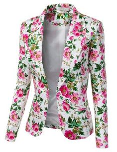 Jtomson - Freedom of Fashion - Womens Trendy Floral Print Blazer Jacket