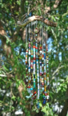 Wind-chime craft. Glass beads and keys. Birthday present to great-grandma. #kids #windchime #glassbeads #craft