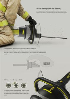 A Power Chain Saw with a Revolving Handle.This chain has a handle that revolves and stops at predefined angles. In general, people cut trees horizontally or vertically by turning their saws at certain angles or leaning or tilting their body parts. Presentation Board Design, Presentation Styles, Product Presentation, Ppt Design, Layout Design, Ecole Design, Plakat Design, Industrial Design Sketch, Yanko Design