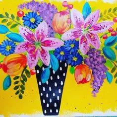 How to Paint Impressionist Lilies Tulips Lilacs and Aster | Boho Flower Vase Acrylic Painting Tutorial on YouTube by Angela Anderson | Free Easy Beginner Art Lesson | | #angelafineart #painting