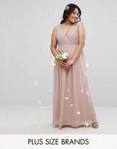 TFNC Plus Wedding Wrap Embellished Maxi Dress
