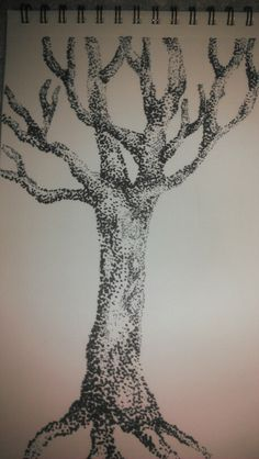 Extremely high and low density stippling juxtaposed to create a heavy high- and low-light drawing