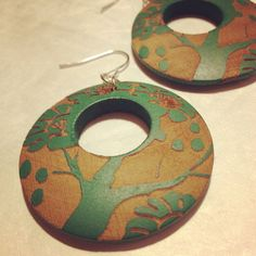 Earrings  Natural Wooden Circle Drops with Forest by jHenSunshine, $10.00