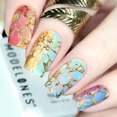 : Nail art designs made with Temperature Set, , and never go wrong when you want blended color nails manicure. Nail Art Designs, Flower Nail Designs, Nail Polish Designs, Nail Polish Colors, Color Nails, Nails Design, Nail Swag, Spring Nail Art, Spring Nails
