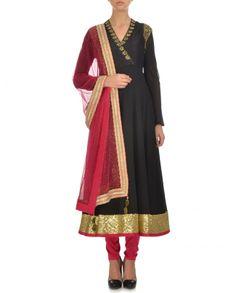 Jet Black & Neon Pink Anarkali Suit - Madsam Tinzin - Designers #Ethnic #Traditional #Desi #Indianfashion #Indiandesigners #Designerwear #Fashion #Women #Indian