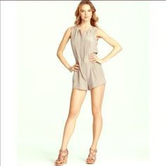 Bcbg romper Worn once hazelnut Paloma romper by BCBG$150 originally. Like brand new, don't like color on me. Button up in front. Super cute on right person. BCBGMaxAzria Shorts