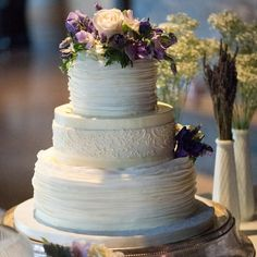 Three-tier ruffle and lace wedding cake // Robert Norman Photography // Cake: JCakes //  http://www.theknot.com/weddings/album/a-vintage-vineyard-wedding-in-stonington-ct-133895