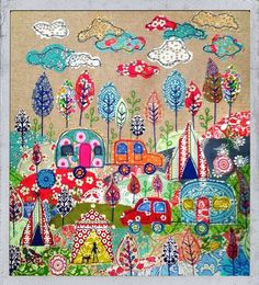 Camping Fabric Applique Textile Art by Lucy Levinson