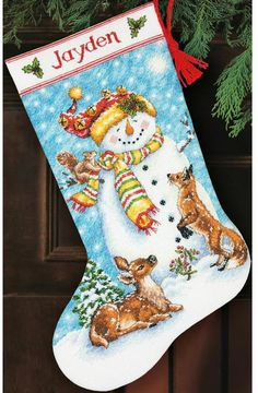 Hand Crafted Pretty Needlepoint Christmas Stocking Deer-drawen Sleigh Snowman