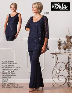 This Ursula of Switzerland 41345 three-piece pants suit comprises silky chiffon pants and a tunic with matching jacket in filigree stretch lace. The sleeveless tunic of this plus size ensemble features a scoop neckline, and the jacket has three-quarter length sleeves. Available in sizes 16 to 28