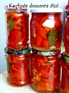 Kuchnia domowa Ani: Papryka marynowana z miodem II Polish Recipes, Calzone, Preserves, Pickles, Salsa, Food And Drink, Jar, Stuffed Peppers, Homemade