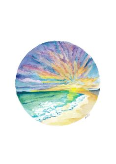 Sunset Print Print A4 over water with by KellysWaterPaintings