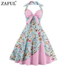 ZAFUL 7 Colors Women Summer Vintage Dress Plus Size Floral Print Pin Up Halter Party Dresses Retro Rockabilly Feminino Vestidos