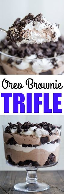 The ultimate chocolate dessert! Layers of brownie pieces, rich chocolate pudding… The ultimate chocolate dessert! Layers of brownie pieces, rich chocolate pudding, whipped topping, and crushed Oreos. Oreo Brownie Trifle, Dessert Oreo, Oreo Brownies, Low Carb Dessert, Oreo Cake, Homemade Brownies, Brownie Deserts, Brownie Ideas, Desserts Keto