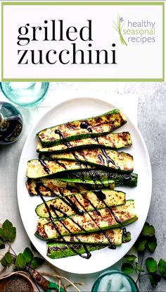 Easy Grilled Zucchini with balsamic glaze is such a simple but delicious summer side dish and great way to use up garden fresh zucchini! I love to make it as a side dish for company during the summer because it is vegan, gluten-free, low carb and healthy, Grilled Side Dishes, Side Dishes For Bbq, Summer Side Dishes, Healthy Side Dishes, Side Dish Recipes, Hamburger Side Dishes, Side Dishes For Salmon, Healthy Sides, Balsamic Vinegar