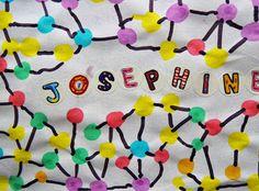 lignes et points autour du prénom Name Activities, Ecole Art, Cursive, Art Plastique, Art For Kids, Alphabet, Preschool, Letters, Fun