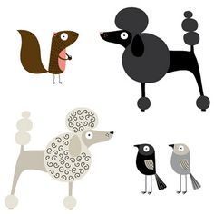 adorable poodle illustrations