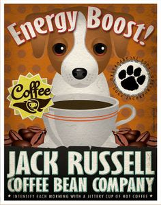 Jack Russell Coffee Bean Company Original Art by DogsIncorporated, $29.00